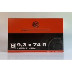 MUNICION RWS 9,3X74 R H-MANTEL 258 GR. CAJA 20 UNIDADES